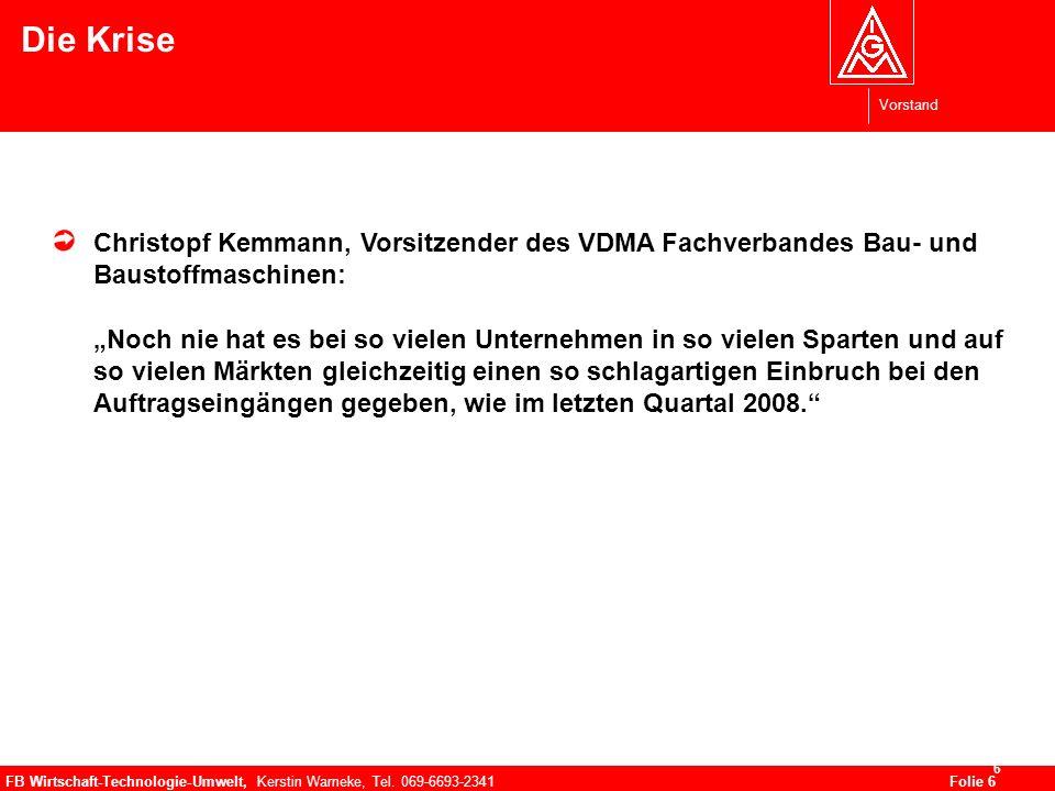 Vorstand FB Wirtschaft-Technologie-Umwelt, Kerstin Warneke, Tel. 069-6693-2341Folie 6 6 Die Krise Christopf Kemmann, Vorsitzender des VDMA Fachverband