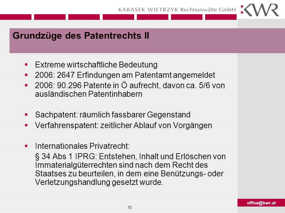 office@kwr.at 15 Grundzüge des Patentrechts II Extreme wirtschaftliche Bedeutung 2006: 2647 Erfindungen am Patentamt angemeldet 2006: 90.296 Patente i
