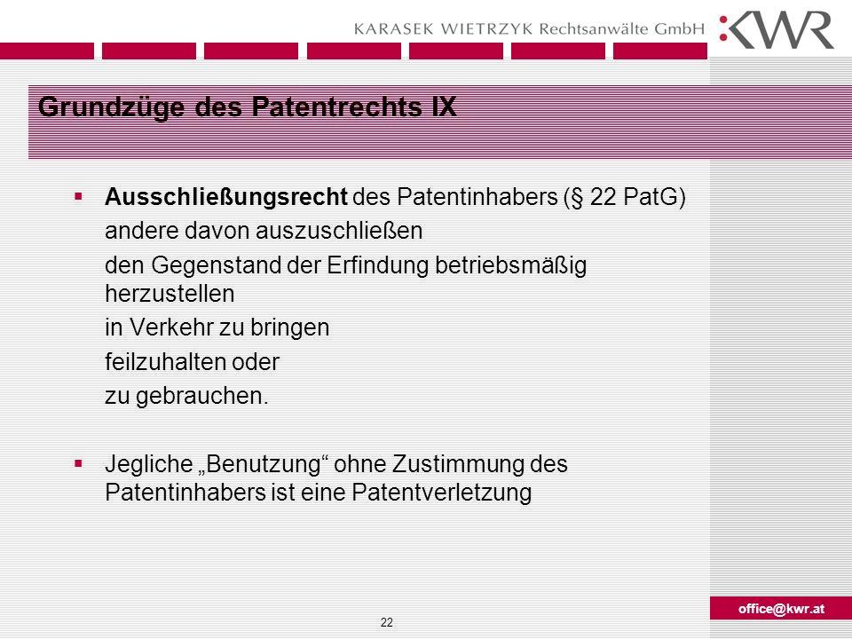 office@kwr.at 22 Grundzüge des Patentrechts IX Ausschließungsrecht des Patentinhabers (§ 22 PatG) andere davon auszuschließen den Gegenstand der Erfin