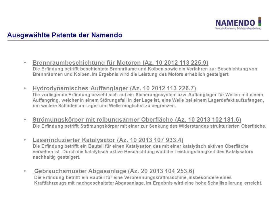 Ausgewählte Patente der Namendo Brennraumbeschichtung für Motoren (Az. 10 2012 113 225.9) Die Erfindung betrifft beschichtete Brennräume und Kolben so