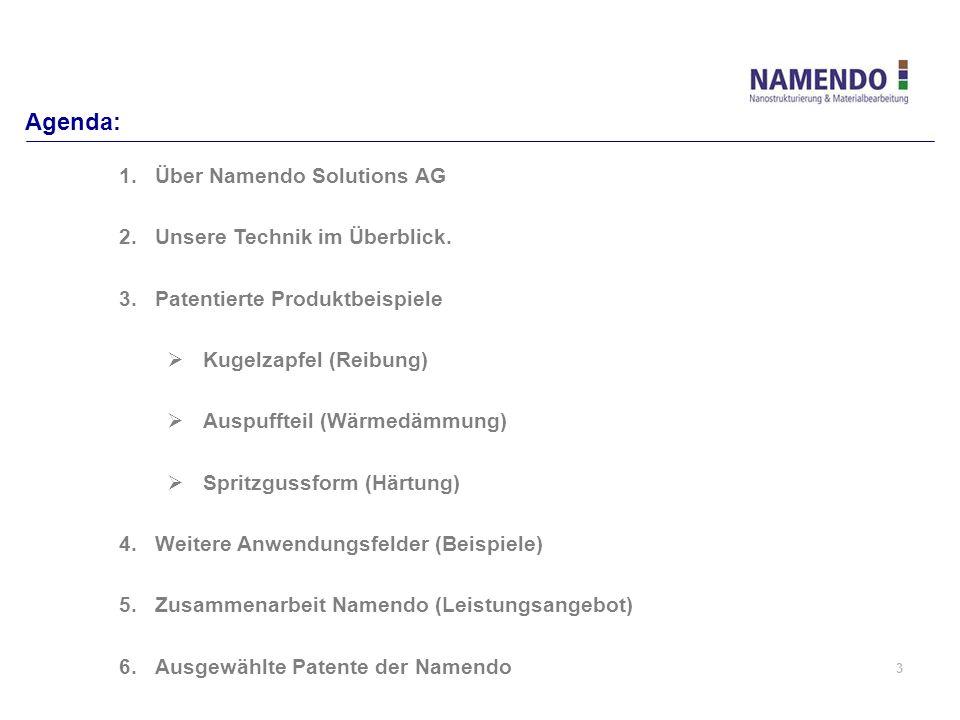 3 Agenda: 1.Über Namendo Solutions AG 2.Unsere Technik im Überblick. 3.Patentierte Produktbeispiele Kugelzapfel (Reibung) Auspuffteil (Wärmedämmung) S