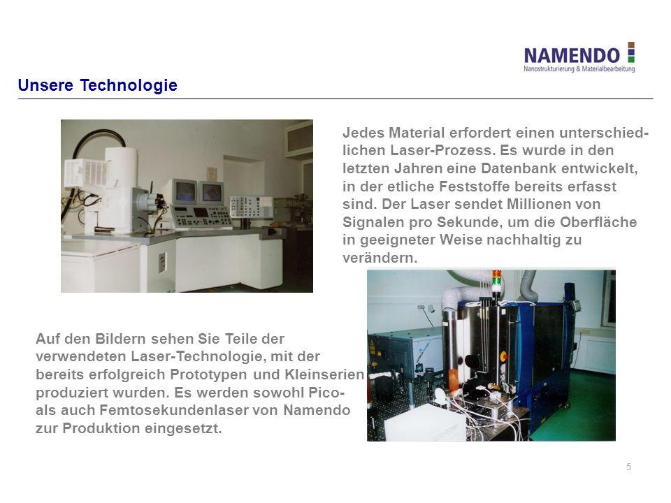 5 Unsere Technologie Jedes Material erfordert einen unterschied- lichen Laser-Prozess. Es wurde in den letzten Jahren eine Datenbank entwickelt, in de