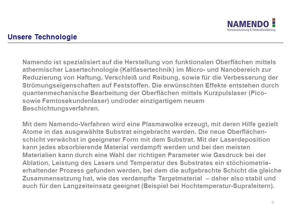 6 Unsere Technologie Namendo ist spezialisiert auf die Herstellung von funktionalen Oberflächen mittels athermischer Lasertechnologie (Kaltlasertechni