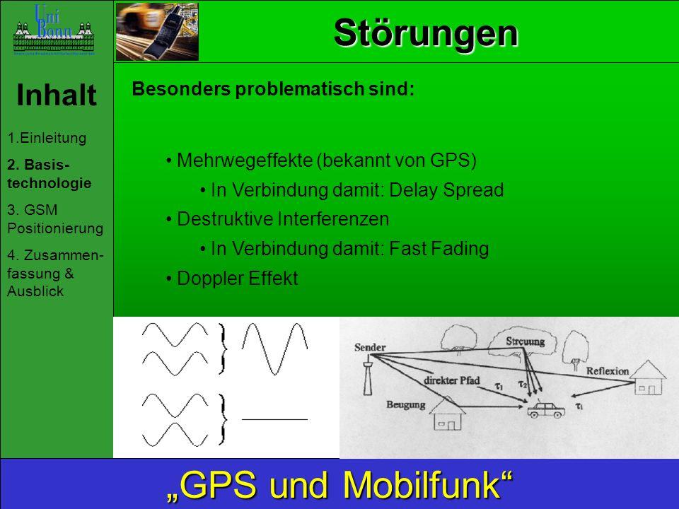 Inhalt 1.Einleitung 2. Basis- technologie 3. GSM Positionierung 4. Zusammen- fassung & Ausblick GPS und Mobilfunk Störungen Besonders problematisch si