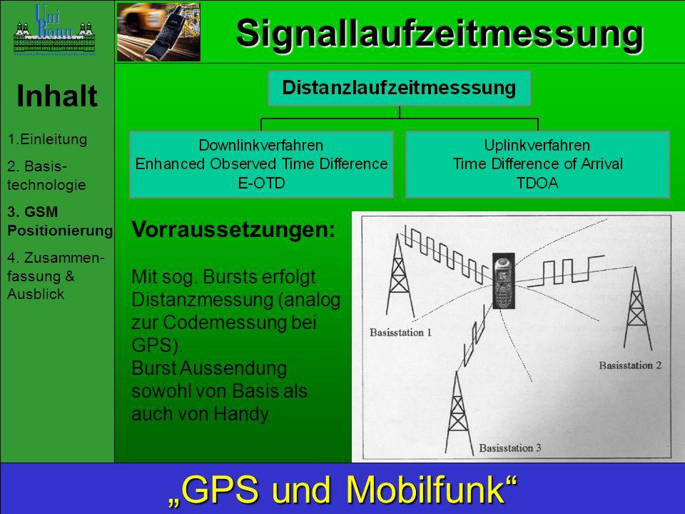 Signallaufzeitmessung Inhalt 1.Einleitung 2. Basis- technologie 3. GSM Positionierung 4. Zusammen- fassung & Ausblick GPS und Mobilfunk Vorraussetzung