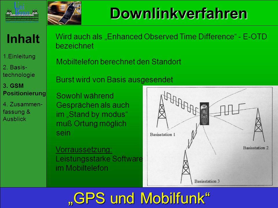 Downlinkverfahren Inhalt 1.Einleitung 2. Basis- technologie 3. GSM Positionierung 4. Zusammen- fassung & Ausblick GPS und Mobilfunk Mobiltelefon berec