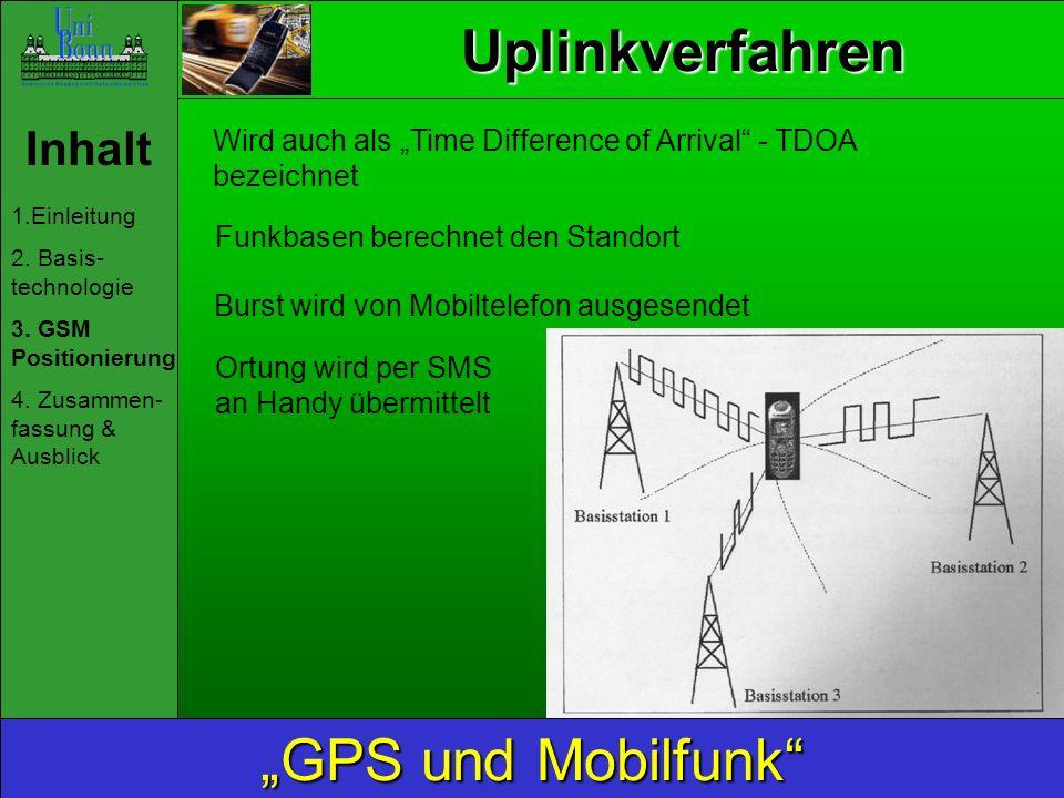 Uplinkverfahren Inhalt 1.Einleitung 2. Basis- technologie 3. GSM Positionierung 4. Zusammen- fassung & Ausblick GPS und Mobilfunk Funkbasen berechnet