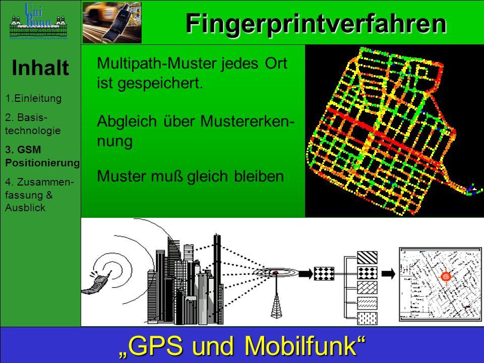 Fingerprintverfahren Inhalt 1.Einleitung 2. Basis- technologie 3. GSM Positionierung 4. Zusammen- fassung & Ausblick GPS und Mobilfunk Multipath-Muste