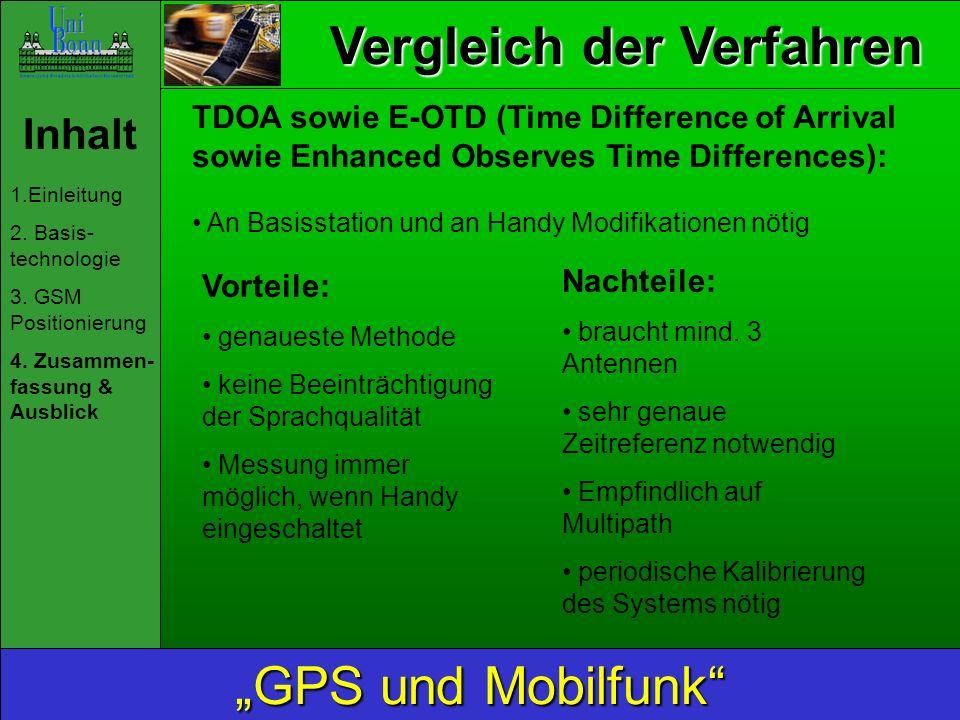 Vergleich der Verfahren Inhalt 1.Einleitung 2. Basis- technologie 3. GSM Positionierung 4. Zusammen- fassung & Ausblick GPS und Mobilfunk TDOA sowie E