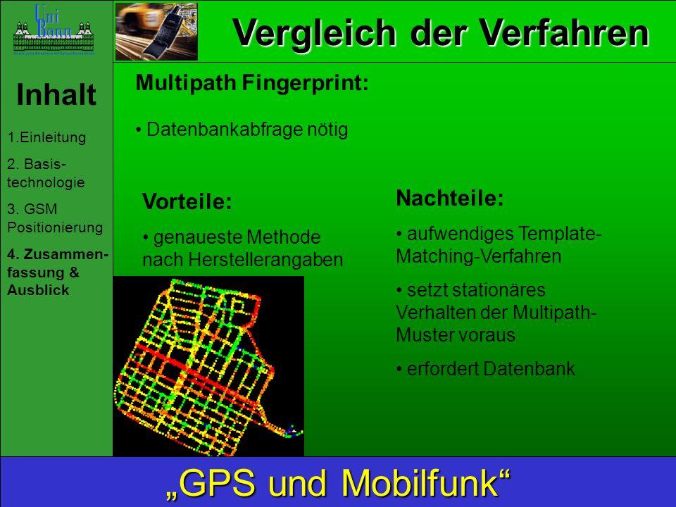 Vergleich der Verfahren Inhalt 1.Einleitung 2. Basis- technologie 3. GSM Positionierung 4. Zusammen- fassung & Ausblick GPS und Mobilfunk Multipath Fi