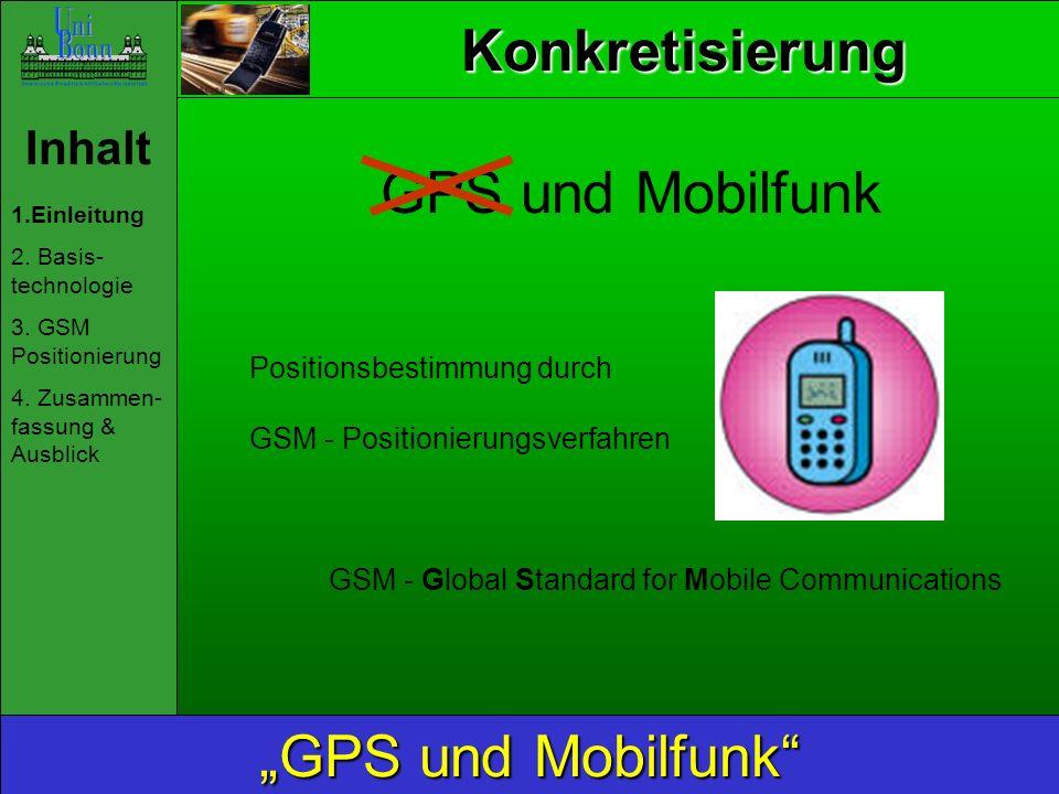 Inhalt 1.Einleitung 2. Basis- technologie 3. GSM Positionierung 4. Zusammen- fassung & Ausblick GPS und Mobilfunk Positionsbestimmung durch GSM - Posi