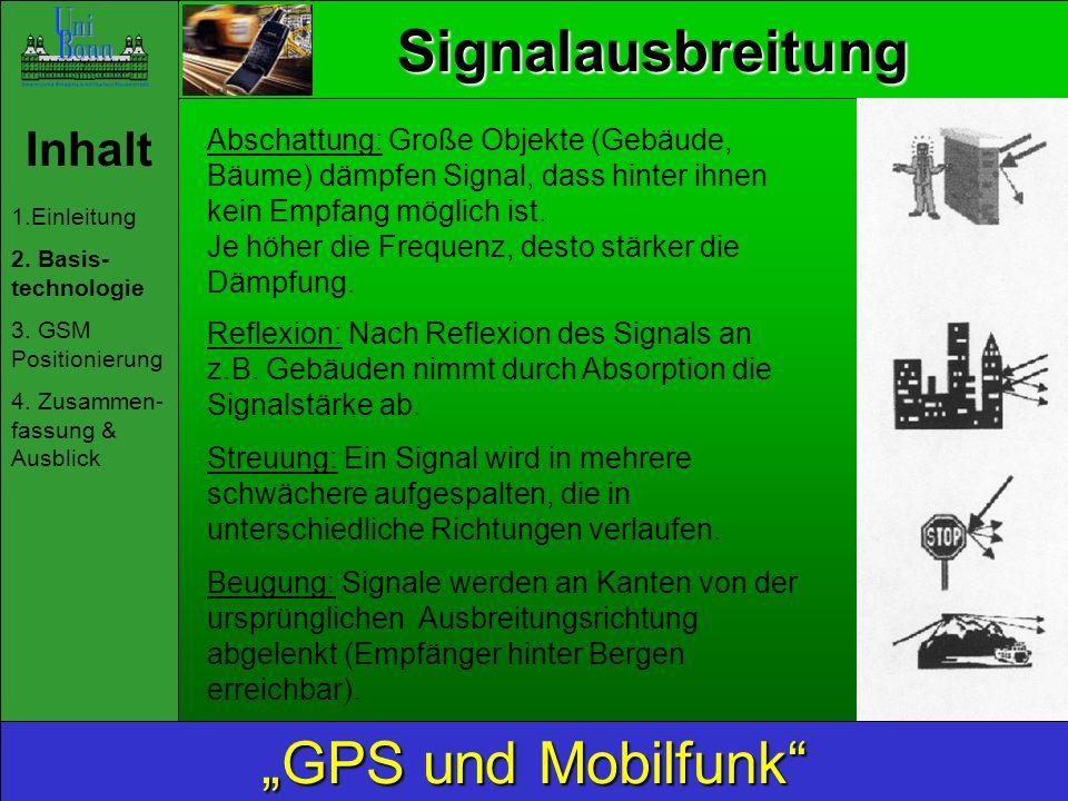 Inhalt 1.Einleitung 2. Basis- technologie 3. GSM Positionierung 4. Zusammen- fassung & Ausblick GPS und Mobilfunk Signalausbreitung Abschattung: Große