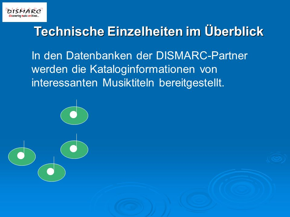 In den Datenbanken der DISMARC-Partner werden die Kataloginformationen von interessanten Musiktiteln bereitgestellt.