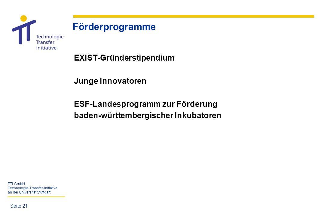 TTI GmbH Technologie-Transfer-Initiative an der Universität Stuttgart Förderprogramme EXIST-Gründerstipendium Junge Innovatoren ESF-Landesprogramm zur