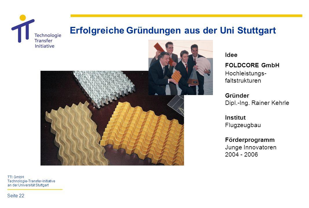 TTI GmbH Technologie-Transfer-Initiative an der Universität Stuttgart Erfolgreiche Gründungen aus der Uni Stuttgart Idee FOLDCORE GmbH Hochleistungs-