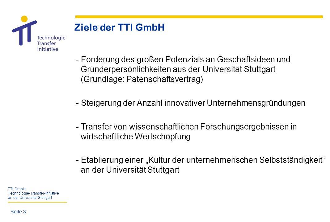 TTI GmbH Technologie-Transfer-Initiative an der Universität Stuttgart Seite 14 Jahr Anzahl 557 395 557 Gründungsinteressierte mit 395 Gründungsvorhaben (seit 04/1998)