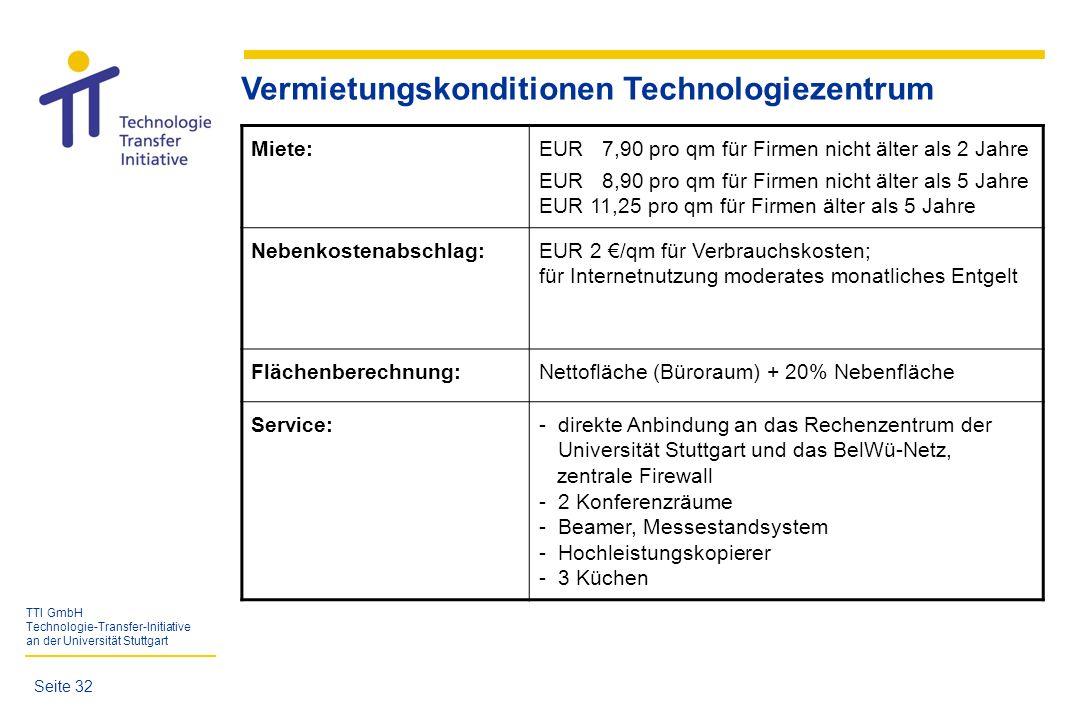 TTI GmbH Technologie-Transfer-Initiative an der Universität Stuttgart Vermietungskonditionen Technologiezentrum Miete:EUR 7,90 pro qm für Firmen nicht