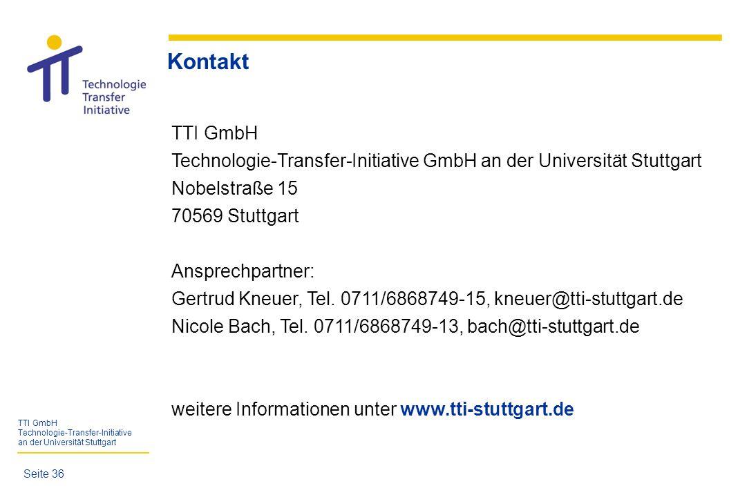 TTI GmbH Technologie-Transfer-Initiative an der Universität Stuttgart TTI GmbH Technologie-Transfer-Initiative GmbH an der Universität Stuttgart Nobel