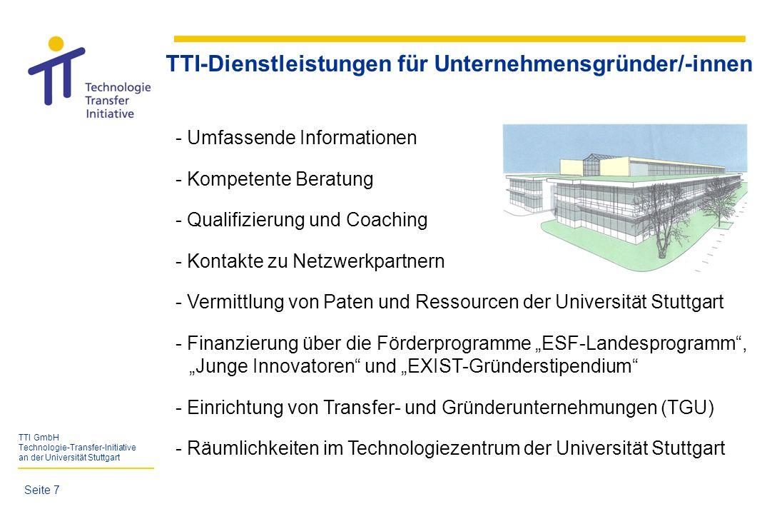 TTI GmbH Technologie-Transfer-Initiative an der Universität Stuttgart Qualifizierung und Coaching - Ringvorlesung Existenzgründung für Akademiker - Planspiel-Wettbewerb priME-Cup -Kompaktkurs Existenzgründung der KWW - verschiedene Vertiefungskurse der KWW - eigene Veranstaltungen/Seminare der TTI GmbH siehe auch Broschüre Unternehmergeist und TTI-Newsletter Seite 8