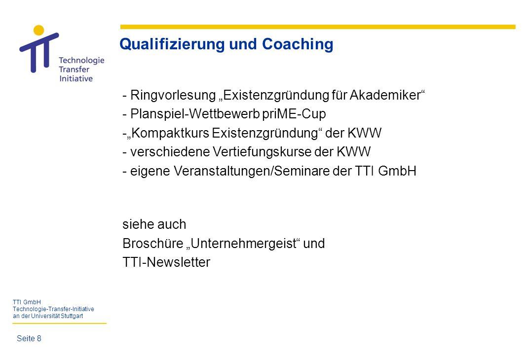 TTI GmbH Technologie-Transfer-Initiative an der Universität Stuttgart Seite 19 557 Gründungsinteressierte mit 395 Gründungsvorhaben (seit 04/1998) Gründungs- Vorhaben Dienst- leistungen ProduktionHandel Gründungs- interessierte (gesamt) Gründungs- interessierte (w) abgebrochenArbeitsplätze ca.