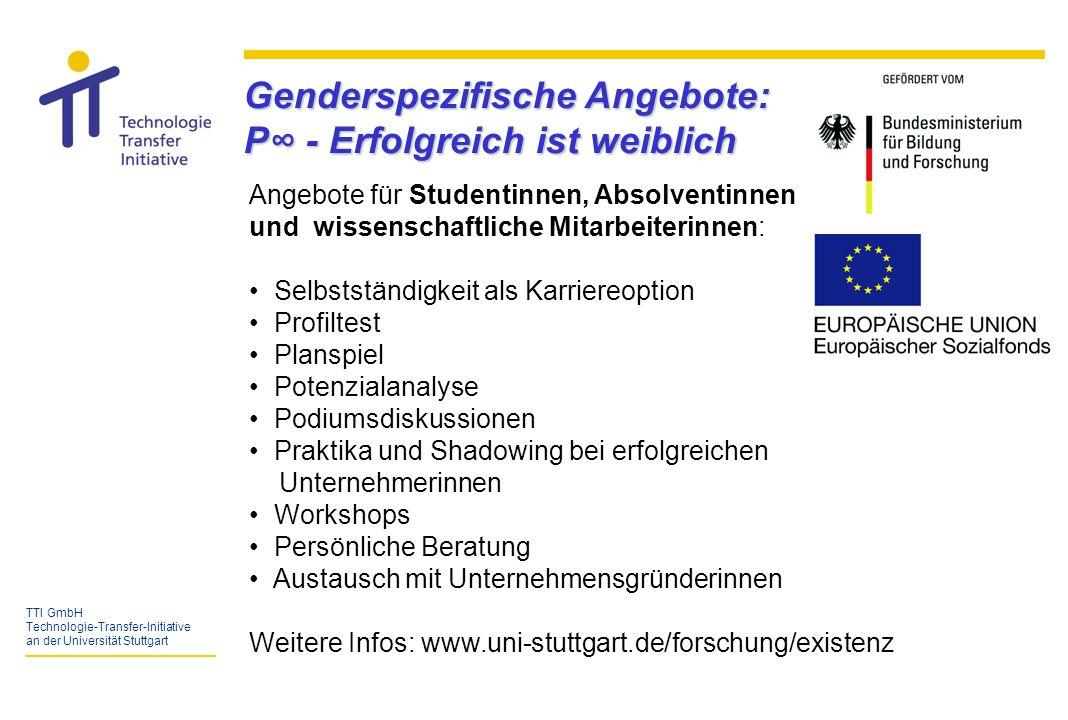 TTI GmbH Technologie-Transfer-Initiative an der Universität Stuttgart Netzwerkpartner - Gesellschafter der TTI GmbH - Bundesministerium für Wirtschaft und Technologie BMWi, Wirtschaftsministerium / ifex und Ministerium für Wissenschaft, Forschung und Kunst - andere Hochschulen und Gründerverbunde - Forschungseinrichtungen Region Stuttgart (FhG, MPI, etc.) - Weiterbildungseinrichtungen (KWW der Universitäten Stuttgart und Hohenheim) - Technologie-Lizenz-Büro (TLB) der Baden-Württembergischen Hochschulen GmbH - Wirtschaftsförderer (Stadt Stuttgart, WRS GmbH), Kammern und Verbände - Banken, Sparkassen und Beteiligungsgesellschaften - Unternehmens- und Steuerberater, Rechts- und Patentanwälte - Unternehmen siehe auch Wegweiser für Existenzgründungen der Initiativen PUSH.
