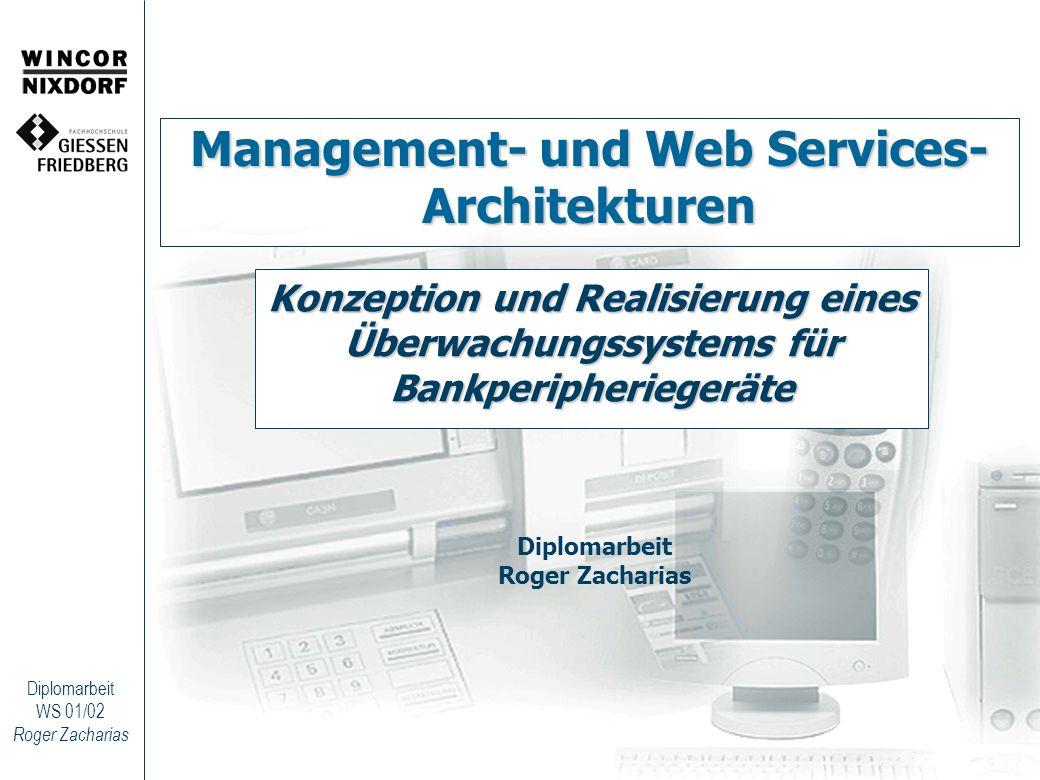 Roger Zacharias Diplomarbeit WS 01/02 Web Services – UDDI-Registry Kategorien: –white pages (Unternehmensverzeichnis) –yellow pages (Branchenverzeichnis) –green pages (Web Service Verzeichnis) Zurzeit existierende Verzeichnisse: –http://uddi.microsoft.com/http://uddi.microsoft.com/ –http://www-3.ibm.com/services/uddi/http://www-3.ibm.com/services/uddi/ –https://uddi.hp.comhttps://uddi.hp.com –http://udditest.sap.com/http://udditest.sap.com/ –http://uddi.ariba.com/http://uddi.ariba.com/ Globales öffentliches Verzeichnis