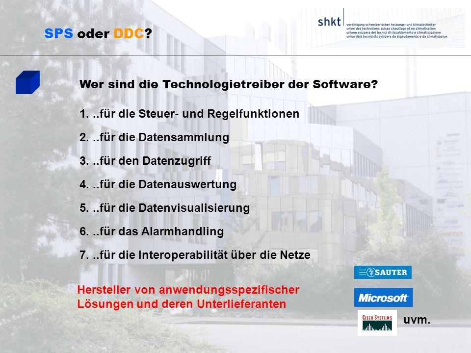 SPS oder DDC? Wer sind die Technologietreiber der Software? 1...für die Steuer- und Regelfunktionen 2...für die Datensammlung 3...für den Datenzugriff