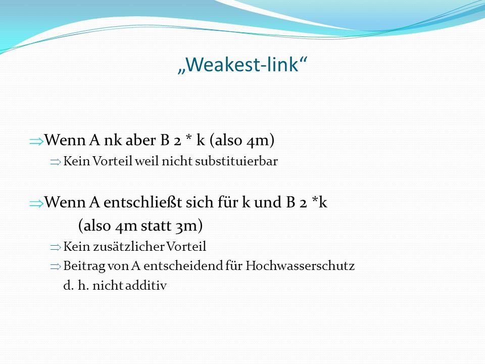 Weakest-link Wenn A nk aber B 2 * k (also 4m) Kein Vorteil weil nicht substituierbar Wenn A entschließt sich für k und B 2 *k (also 4m statt 3m) Kein