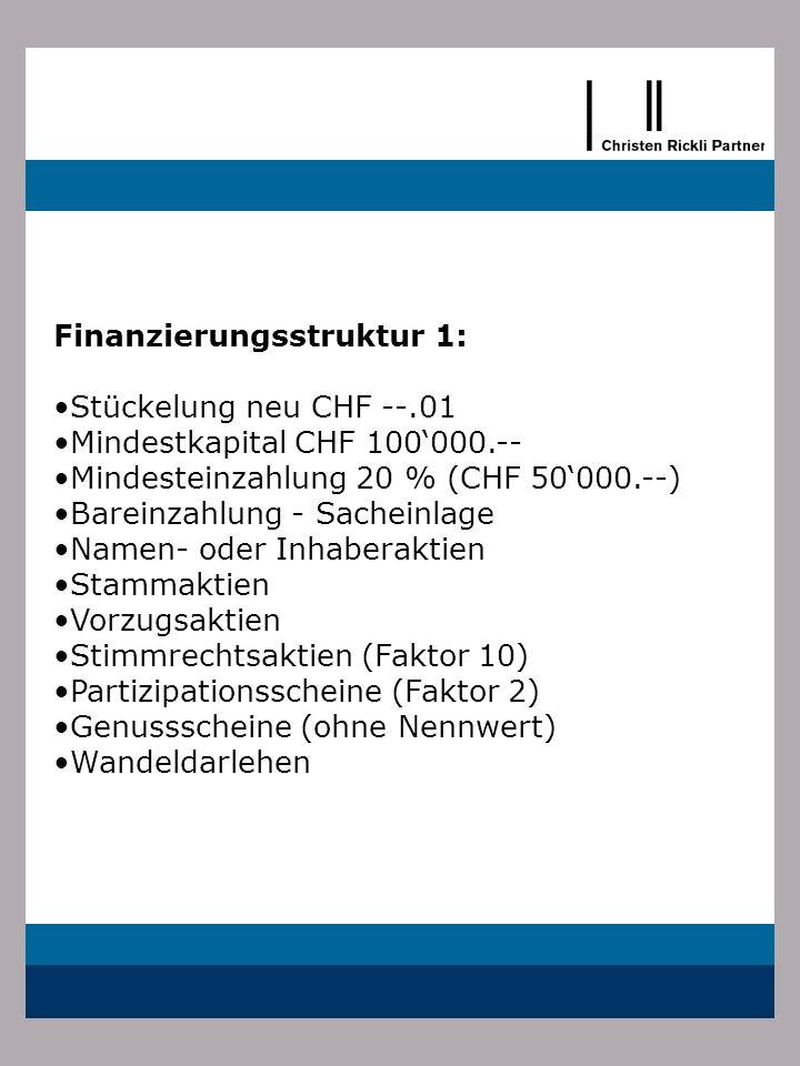 Finanzierungsstruktur 1: Stückelung neu CHF --.01 Mindestkapital CHF 100000.-- Mindesteinzahlung 20 % (CHF 50000.--) Bareinzahlung - Sacheinlage Namen