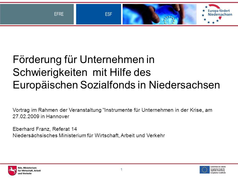 1 Förderung für Unternehmen in Schwierigkeiten mit Hilfe des Europäischen Sozialfonds in Niedersachsen Vortrag im Rahmen der Veranstaltung