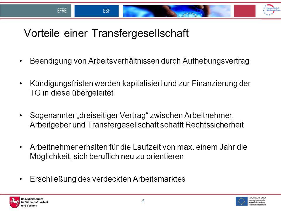 5 Vorteile einer Transfergesellschaft Beendigung von Arbeitsverhältnissen durch Aufhebungsvertrag Kündigungsfristen werden kapitalisiert und zur Finan