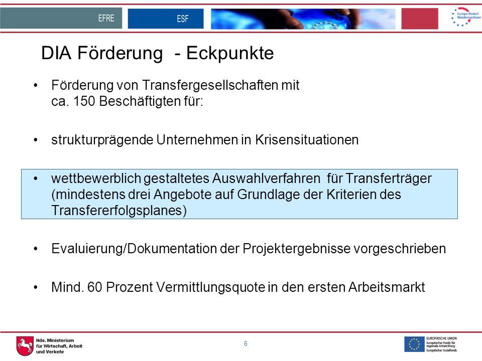 6 DIA Förderung - Eckpunkte Förderung von Transfergesellschaften mit ca. 150 Beschäftigten für: strukturprägende Unternehmen in Krisensituationen wett