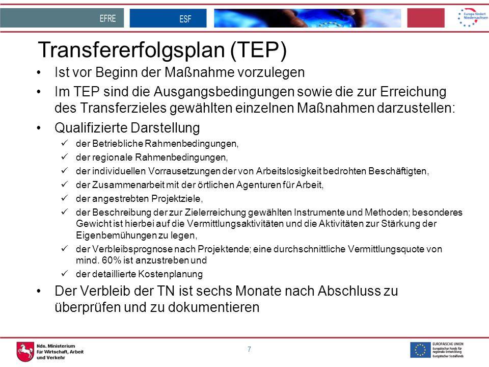 7 Transfererfolgsplan (TEP) Ist vor Beginn der Maßnahme vorzulegen Im TEP sind die Ausgangsbedingungen sowie die zur Erreichung des Transferzieles gew