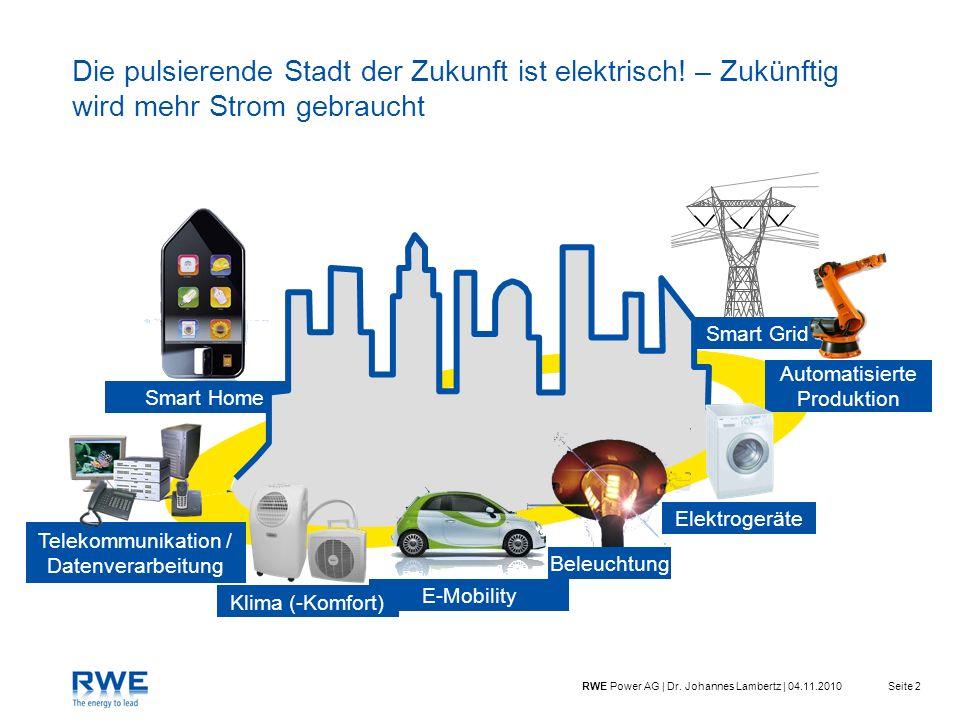 Seite 2RWE Power AG | Dr. Johannes Lambertz | 04.11.2010 Die pulsierende Stadt der Zukunft ist elektrisch! – Zukünftig wird mehr Strom gebraucht Smart