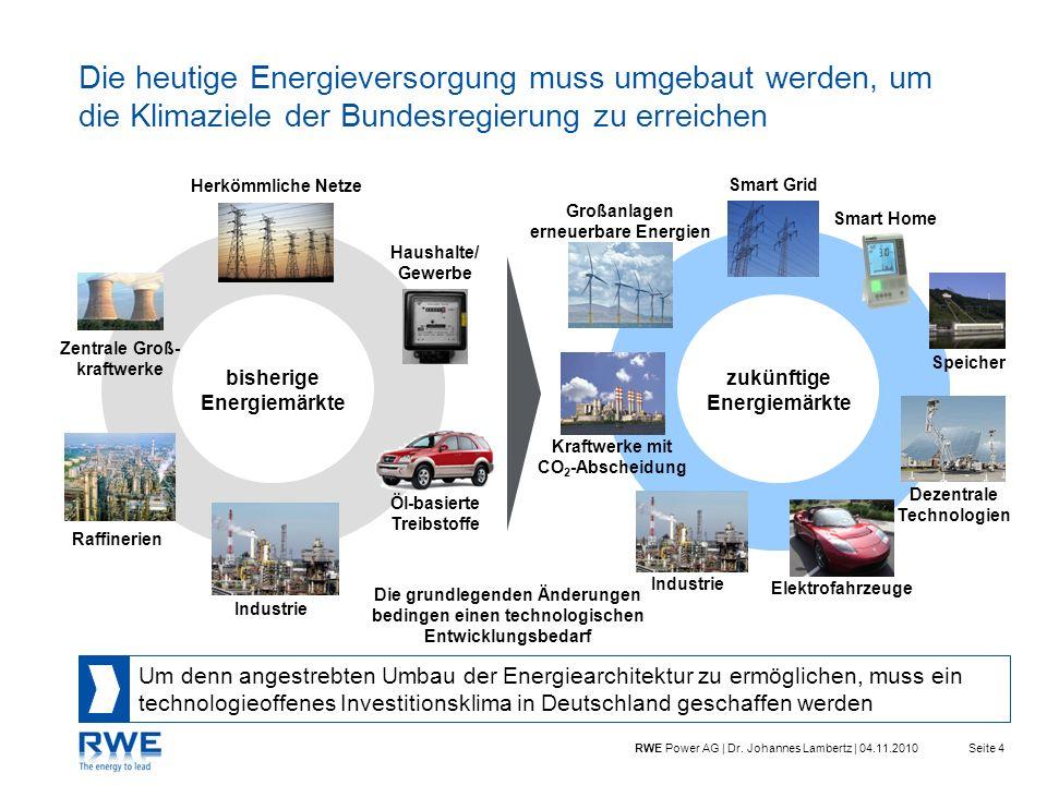 Seite 4RWE Power AG | Dr. Johannes Lambertz | 04.11.2010 Haushalte/ Gewerbe Öl-basierte Treibstoffe Industrie Zentrale Groß- kraftwerke Herkömmliche N