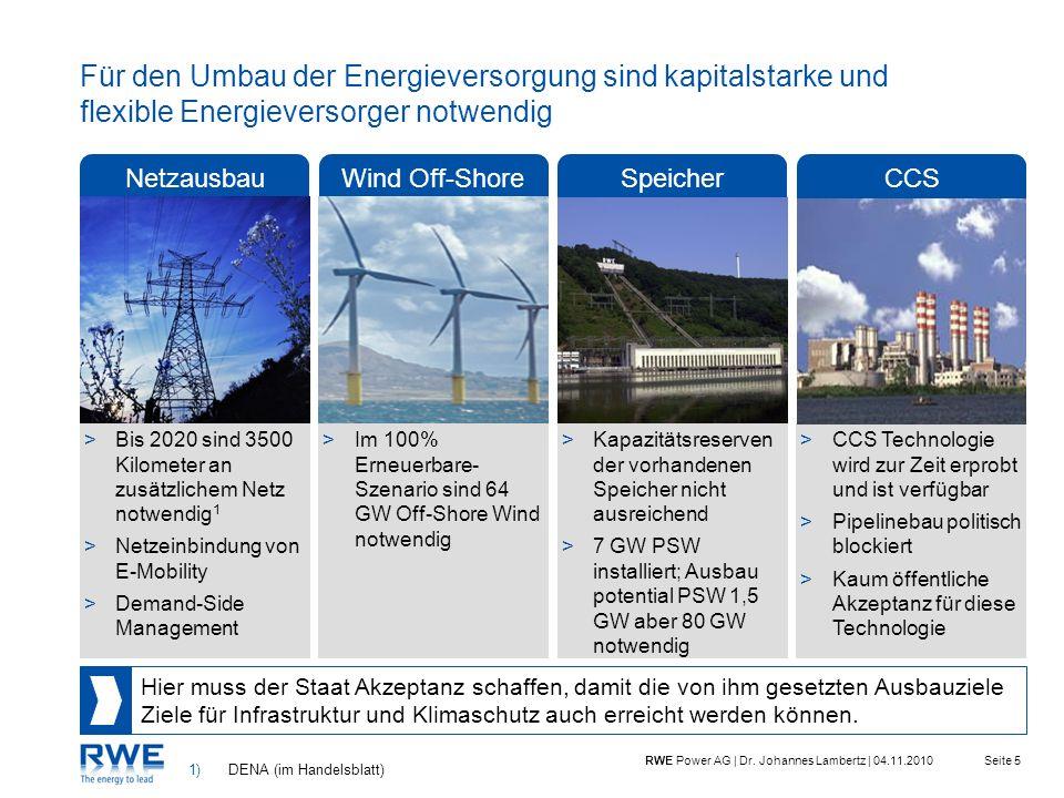 Seite 5RWE Power AG | Dr. Johannes Lambertz | 04.11.2010 Für den Umbau der Energieversorgung sind kapitalstarke und flexible Energieversorger notwendi