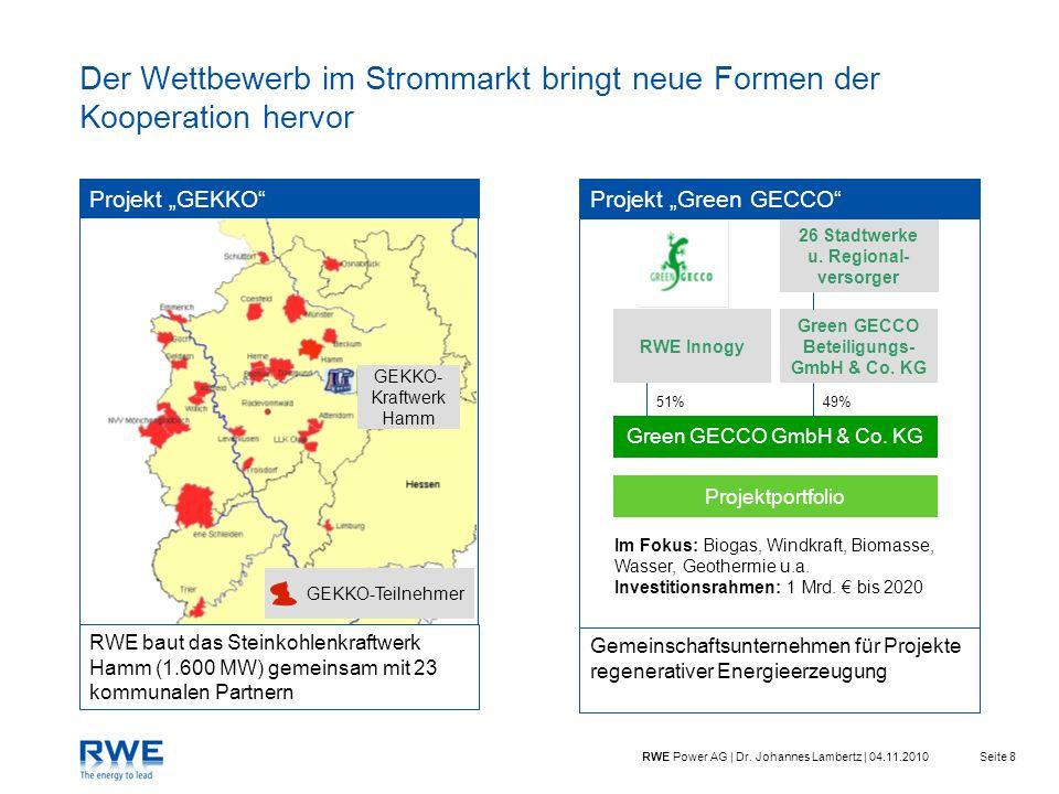 Seite 8RWE Power AG | Dr. Johannes Lambertz | 04.11.2010 Der Wettbewerb im Strommarkt bringt neue Formen der Kooperation hervor Projektportfolio Green