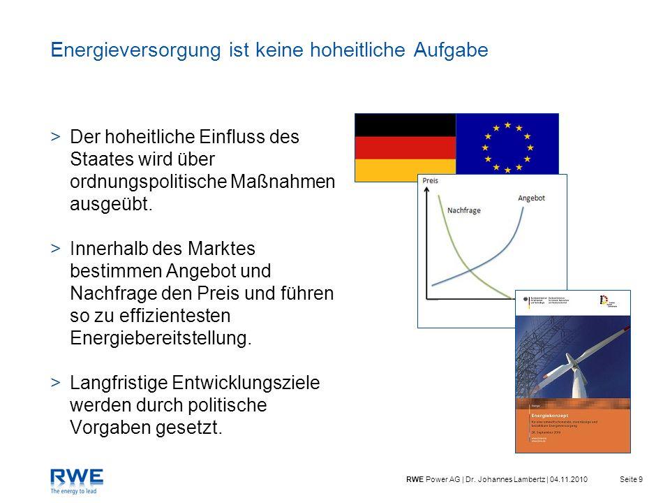 Seite 9RWE Power AG | Dr. Johannes Lambertz | 04.11.2010 Energieversorgung ist keine hoheitliche Aufgabe >Der hoheitliche Einfluss des Staates wird üb