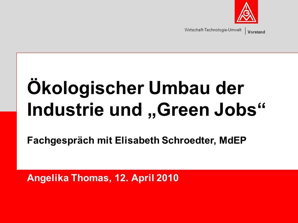 Vorstand Wirtschaft-Technologie-Umwelt Angelika Thomas, 12. April 2010 Ökologischer Umbau der Industrie und Green Jobs Fachgespräch mit Elisabeth Schr