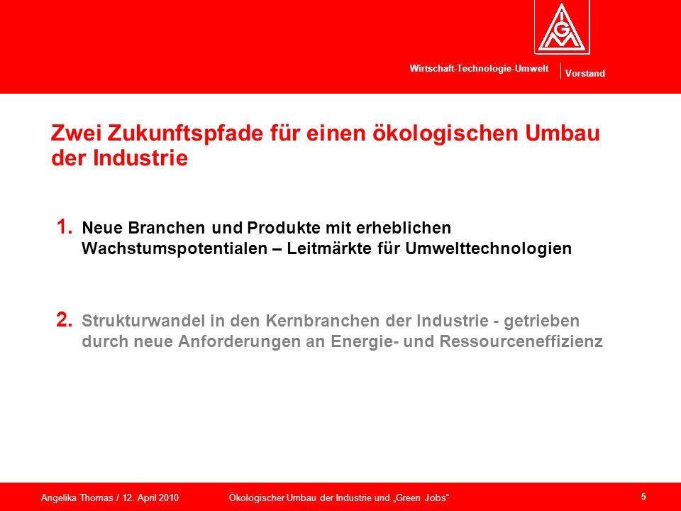 Vorstand Wirtschaft-Technologie-Umwelt Angelika Thomas / 12. April 2010 Ökologischer Umbau der Industrie und Green Jobs 5 Zwei Zukunftspfade für einen