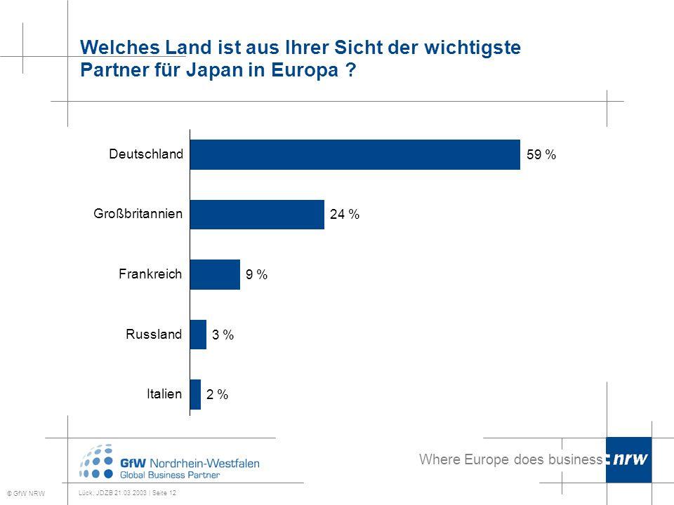 Where Europe does business Lück, JDZB 21.03.2003 | Seite 12 Welches Land ist aus Ihrer Sicht der wichtigste Partner für Japan in Europa .