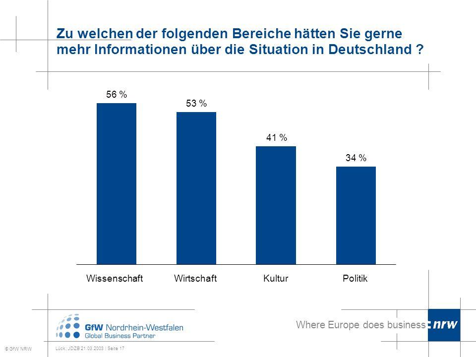 Where Europe does business Lück, JDZB 21.03.2003 | Seite 17 Zu welchen der folgenden Bereiche hätten Sie gerne mehr Informationen über die Situation in Deutschland .