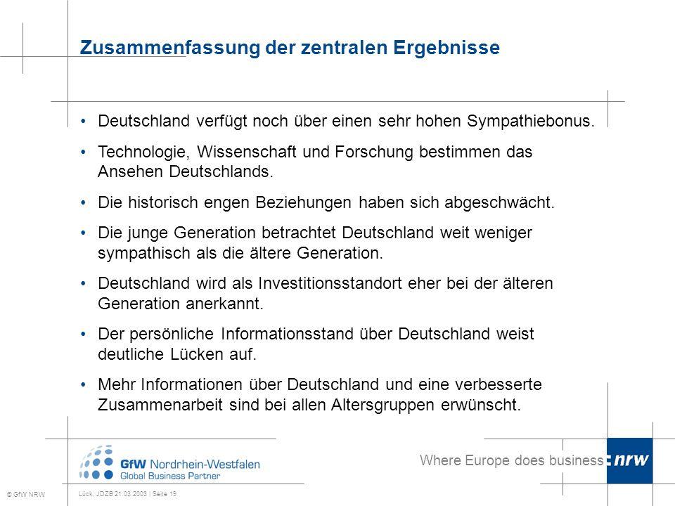 Where Europe does business Lück, JDZB 21.03.2003 | Seite 19 Zusammenfassung der zentralen Ergebnisse © GfW NRW Deutschland verfügt noch über einen sehr hohen Sympathiebonus.