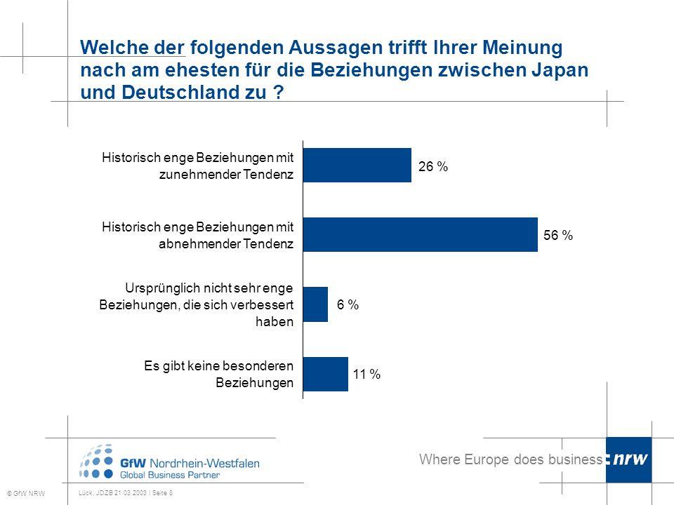 Where Europe does business Lück, JDZB 21.03.2003 | Seite 8 Welche der folgenden Aussagen trifft Ihrer Meinung nach am ehesten für die Beziehungen zwischen Japan und Deutschland zu .