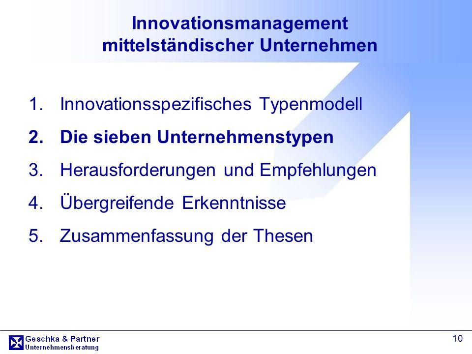 10 Innovationsmanagement mittelständischer Unternehmen 1.Innovationsspezifisches Typenmodell 2.Die sieben Unternehmenstypen 3.Herausforderungen und Em