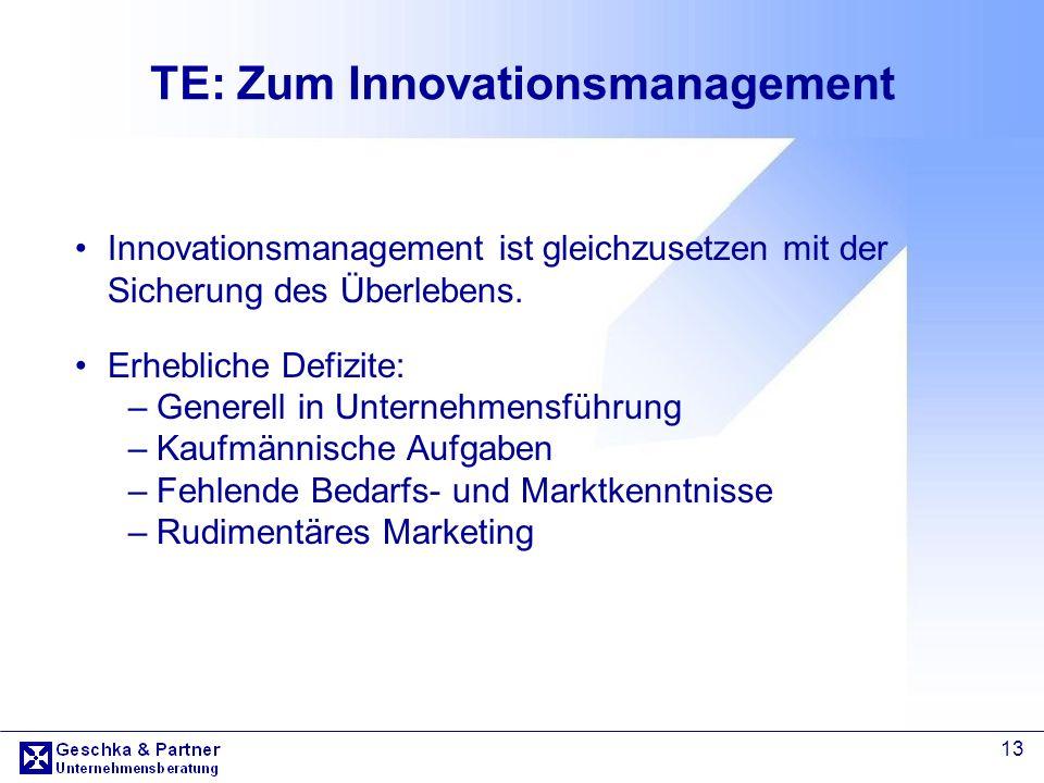 13 TE: Zum Innovationsmanagement Innovationsmanagement ist gleichzusetzen mit der Sicherung des Überlebens. Erhebliche Defizite: –Generell in Unterneh