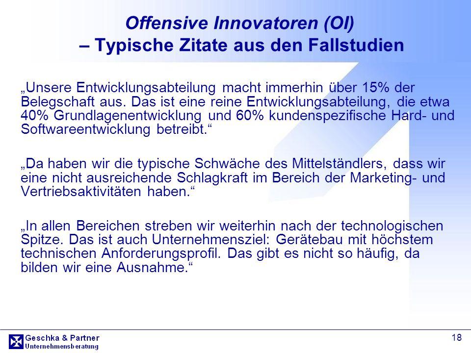 18 Offensive Innovatoren (OI) – Typische Zitate aus den Fallstudien Unsere Entwicklungsabteilung macht immerhin über 15% der Belegschaft aus. Das ist