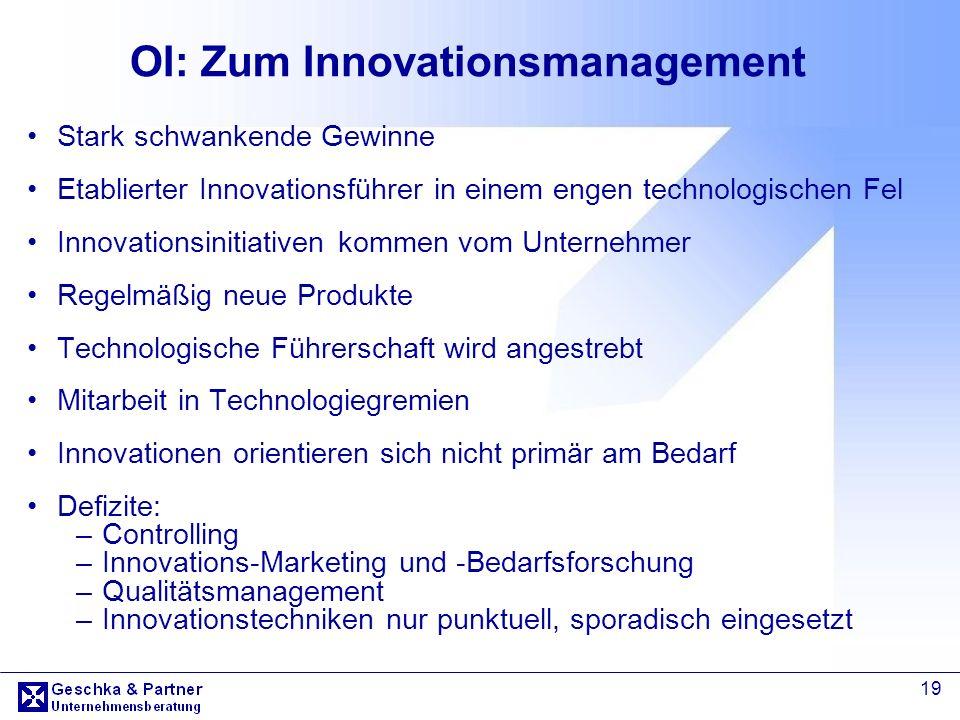 19 OI: Zum Innovationsmanagement Stark schwankende Gewinne Etablierter Innovationsführer in einem engen technologischen Fel Innovationsinitiativen kom
