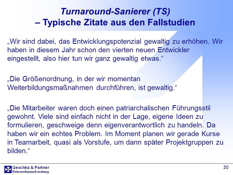 30 Turnaround-Sanierer (TS) – Typische Zitate aus den Fallstudien Wir sind dabei, das Entwicklungspotenzial gewaltig zu erhöhen. Wir haben in diesem J