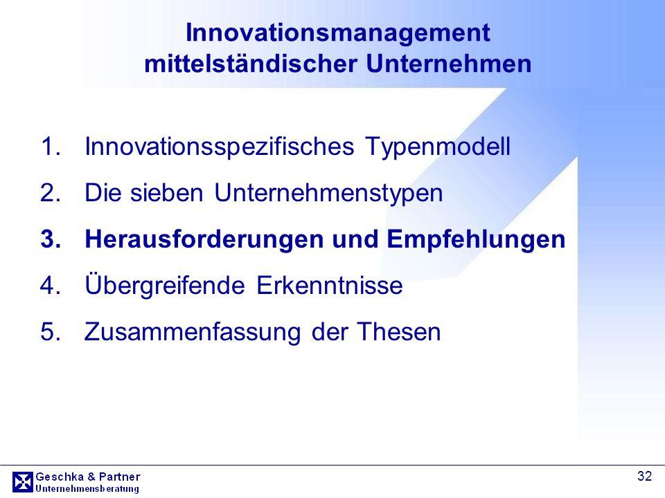 32 Innovationsmanagement mittelständischer Unternehmen 1.Innovationsspezifisches Typenmodell 2.Die sieben Unternehmenstypen 3.Herausforderungen und Em